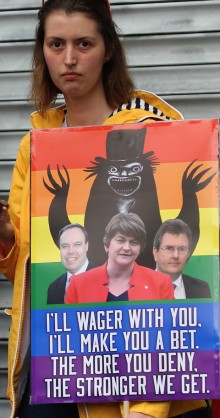 1 July 2017 Belfast poster at DUP