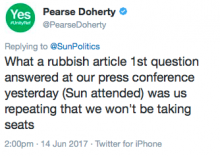 Pearse Doherty on Sun story 13 June 2017