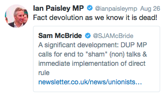 Ian Paisley on devolution