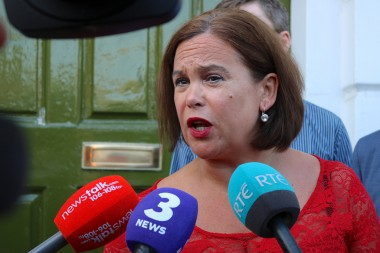 2018 Mary Lou McDonald speaks to media