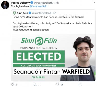 Sinn Féin Finance Spokesperson Pearse Doherty congratulating Senator Warfield earlier today