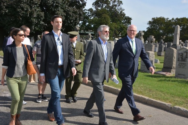 ODR Gerry Adams and Congressman Crawley walk to the Fenian Plot