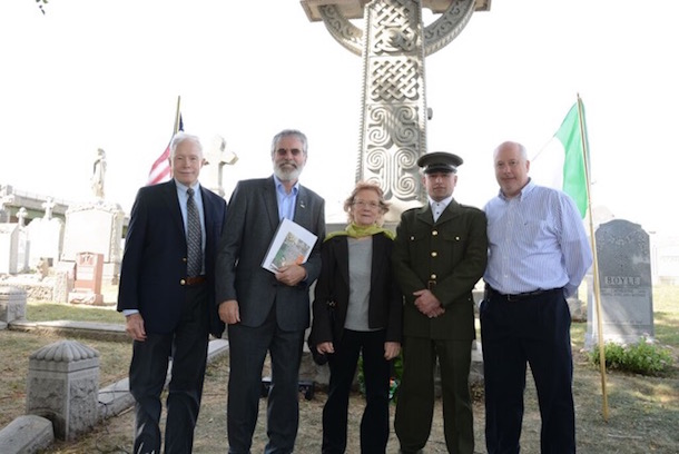 ODR Jim Cullen, Gerry Adams, Rita O'Hare, Tony Devlin and Danny Browne at the Fenian Plot