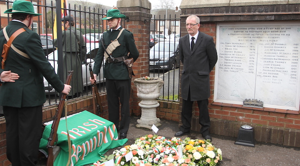 'Volunteers' on guard at the memorial plaque before the unveiling