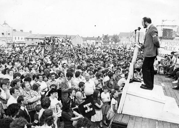 Caoimhghín Ó Caoláin addresses a campaign rally for H-Blocks Hunger Striker Kieran Doherty, who was elected a TD in 1981