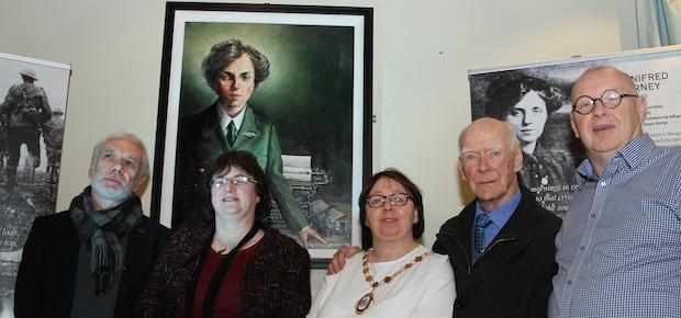 Winnie Carney portrait – Tony Bell, Dessie Cassidy, Mary Ellen Campbell, Dessie Cassidy and Sinn Féin Councillor J. J. Magee
