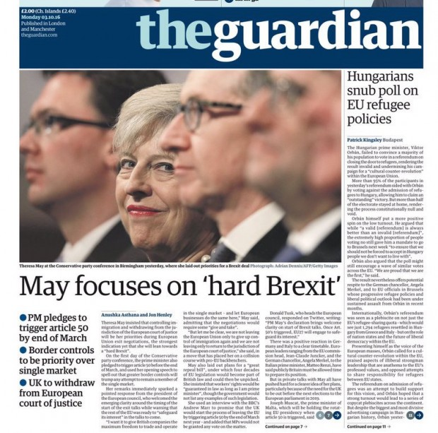 Hard Brexit – Theresa May, Oct 2016 (Guardian)