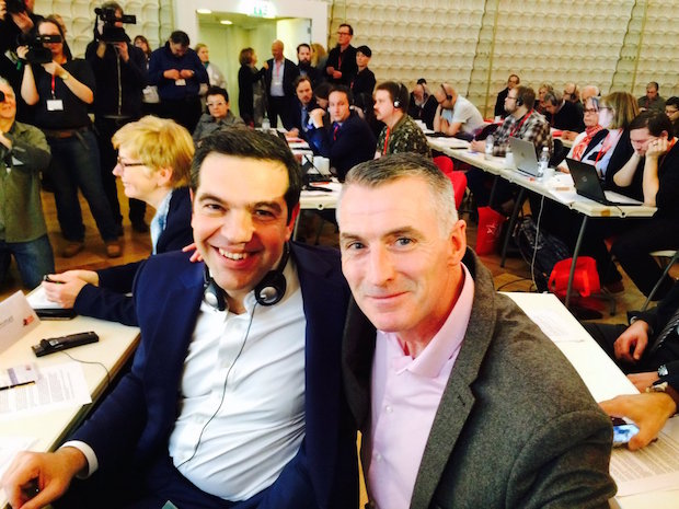 European Left, Berlin –  Dec 2016 – DK with Prime Minister of Greece Alexis Tsipras, President of SYRIZA and Vice-President of European Left