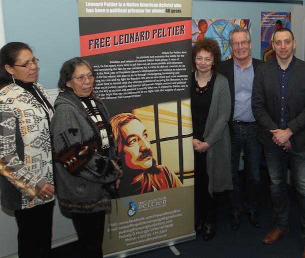 Leonard Peltier – Marcella Gilbert, Madonna Thunder Hawk, Pádraig Ó Muirigh and Sinn Féin MLAs Carál Ní Chuilín and Gerry Kelly