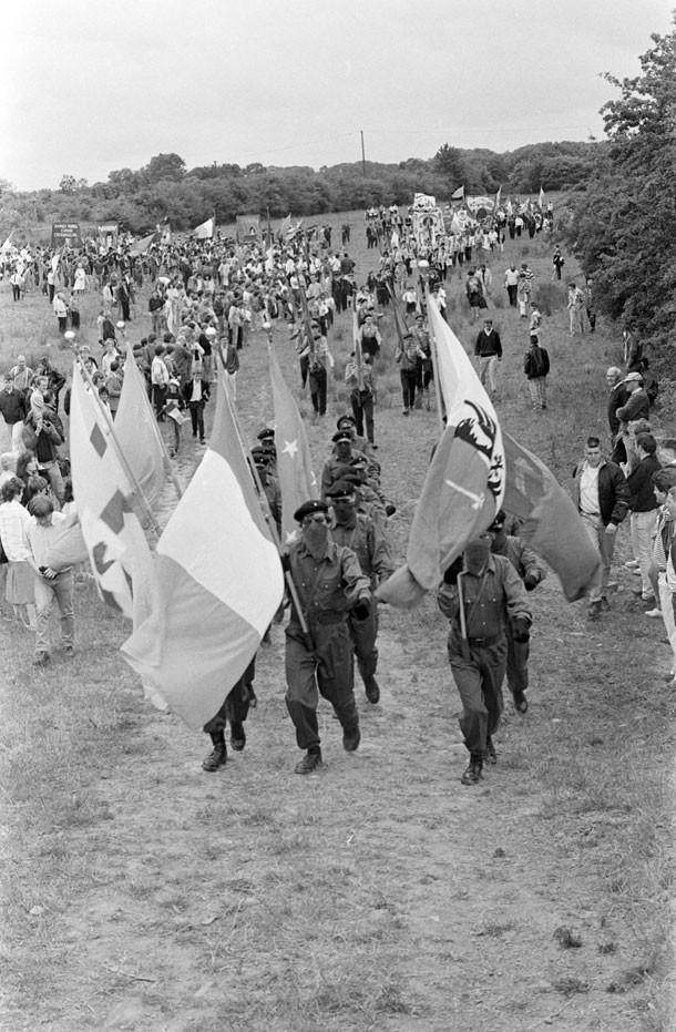 Volunteer Martin 'Doco' Doherty leads the Colour Party at the 1989 Wolfe Tone commemoration in Bodenstown