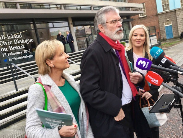 2017 Martina Anderson MEP, Gerry Adams TD and Michelle O'Neill at Dublin Castle