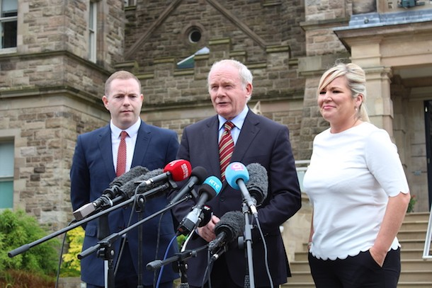 Chris Hazzard, Martin McGuinness, Michelle O'Neill