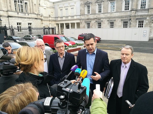 Pearse Doherty with fellow Sinn Féin TDs Martin Ferris, David Cullinane and Brian Stanley