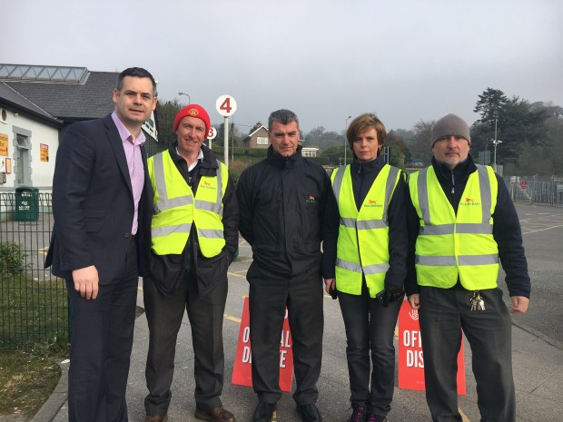 Bus Éireann – Sinn Féin TD Pearse Doherty joins striking Bus Éireann workers on the picket line at Letterkenny Bus Station