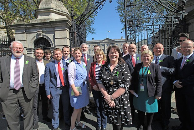 Fermanagh & South Tyrone candidate Michelle Gildernew with the Sinn Féin team in the Dáil