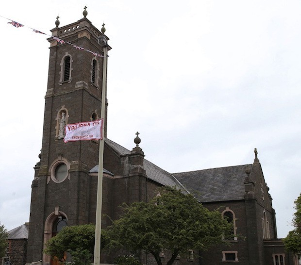 Para flag at St Comgall's Church in Antrim