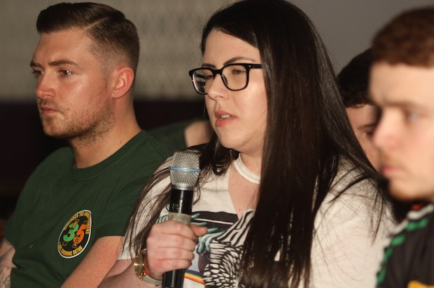 VfP Bronach Ní Bhrolacháin of the Mairéad Farrell Republican Youth Committee raises a point, March 2017