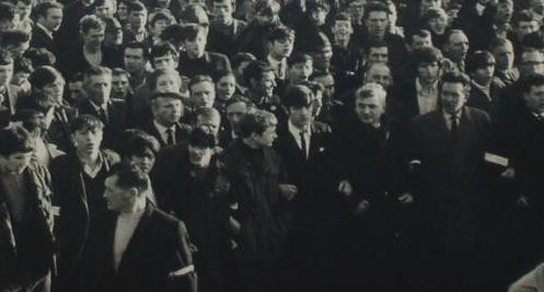 A section of the large crowd at a civil rights march in Derry in November 1968.