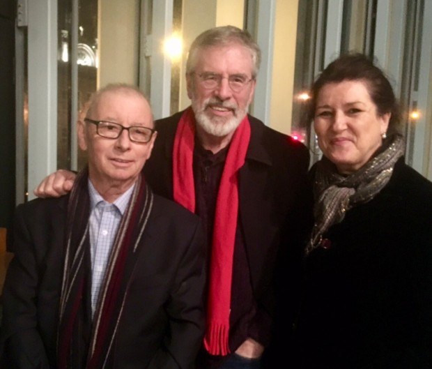 Gerry Adams with Joe Reilly at a recent tribute night for the veteran councillor.