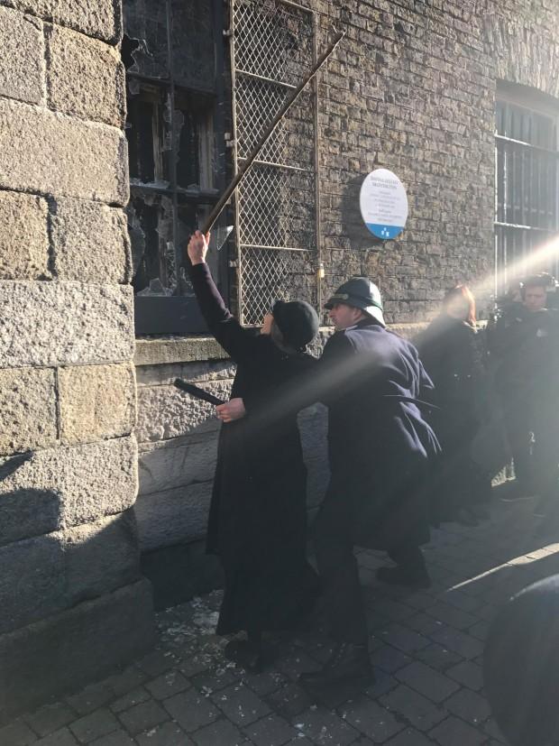 Micheline Sheehy Skeffington re-enacts her grandmother breaking windows in Dublin Castle and her arrest