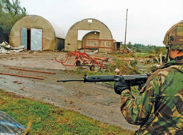 The scene of the killing where Volunteers Dessie Grew and Martin McCaughey were shot dead at an agricultural shed in rural County Armagh