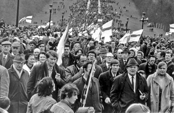 The quasi-fascist Ulster Vanguard movement was led by Bill Craig, a former Unionist Home Affairs Minister, who told a 60,000-strong loyalist mob that 'if and when the politicians fail us, it may be our job to liquidate the enemy'