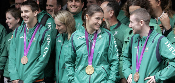 Michael Conlan, Katie Taylor and Paddy Barnes at the Irish Olympic team homecoming event in Dublin