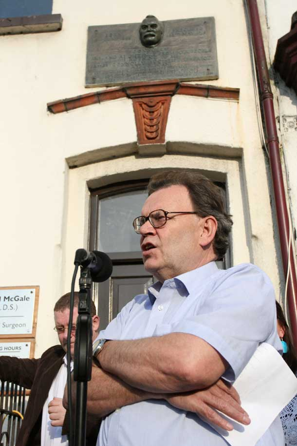 Tom Hartley addresses the annual James Connolly Commemoration on the Falls Road, Belfast