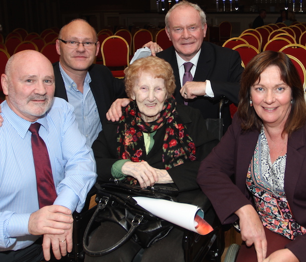 West Belfast MLA Alex Maskey, Paul Maskey, Jennifer McCann and Martin McGuiness with lifelong republican Kitty McGettigan