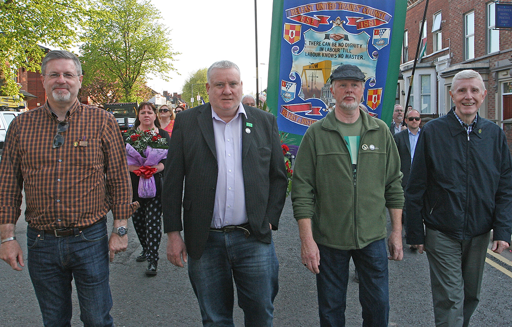 Trade unionist and Sinn Féin activist Liam McBrinn, who as a boy took part in the 50th anniversary of Connolly's execution in 1966, with Gerry McCormack and Christy McQuillan and Sinn Féin and SIPTU activist Jim McVeigh