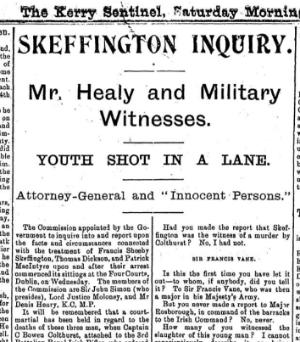 Newspaper report on Francis Sheehy Skeffington murder
