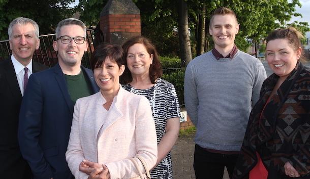 Sinn Féin elected reps Máirtín Ó Muilleoir, Niall Ó Donnghaile, Geraldine McAteer and Deirdre Hargey with Mairead O'Donnell and Lisnasharragh cumann rep Ryan Carlin