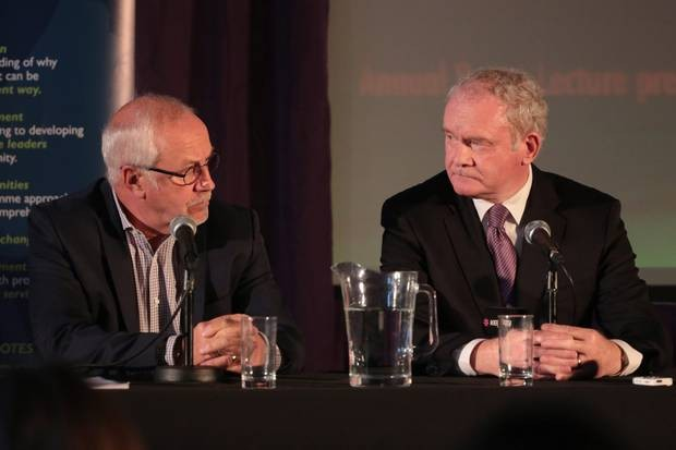 Martin McGuinness and Colin Parry.