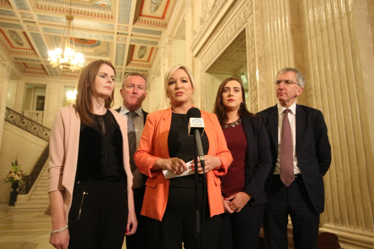 Michelle O'Neill speaking to the media at Stormont this week.