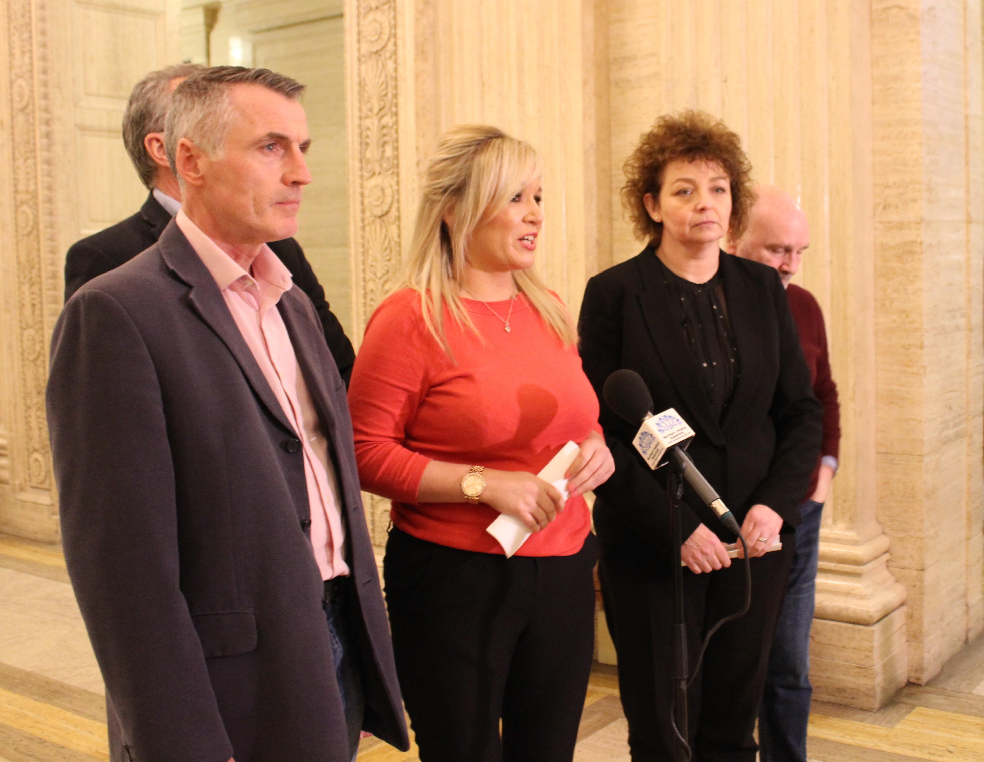 Declan Kearney, Michelle O'Neill and Carál Ní Chuilín