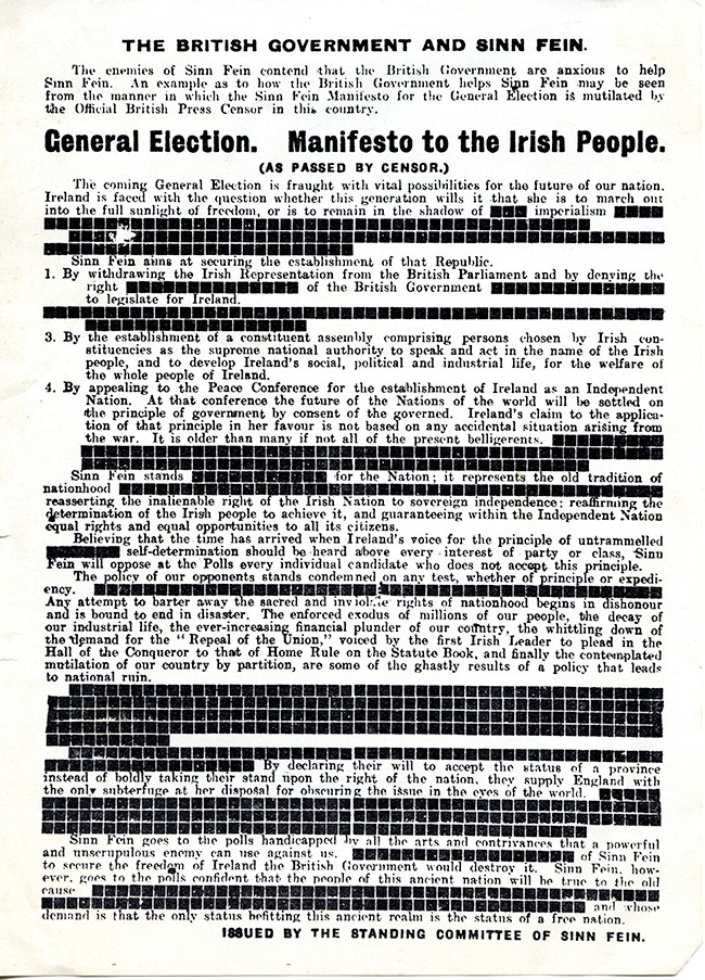 1918 Election manifesto banned