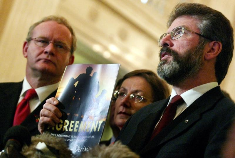 Gerry Adams and Martin McGuinness with the Good Friday Agreement.