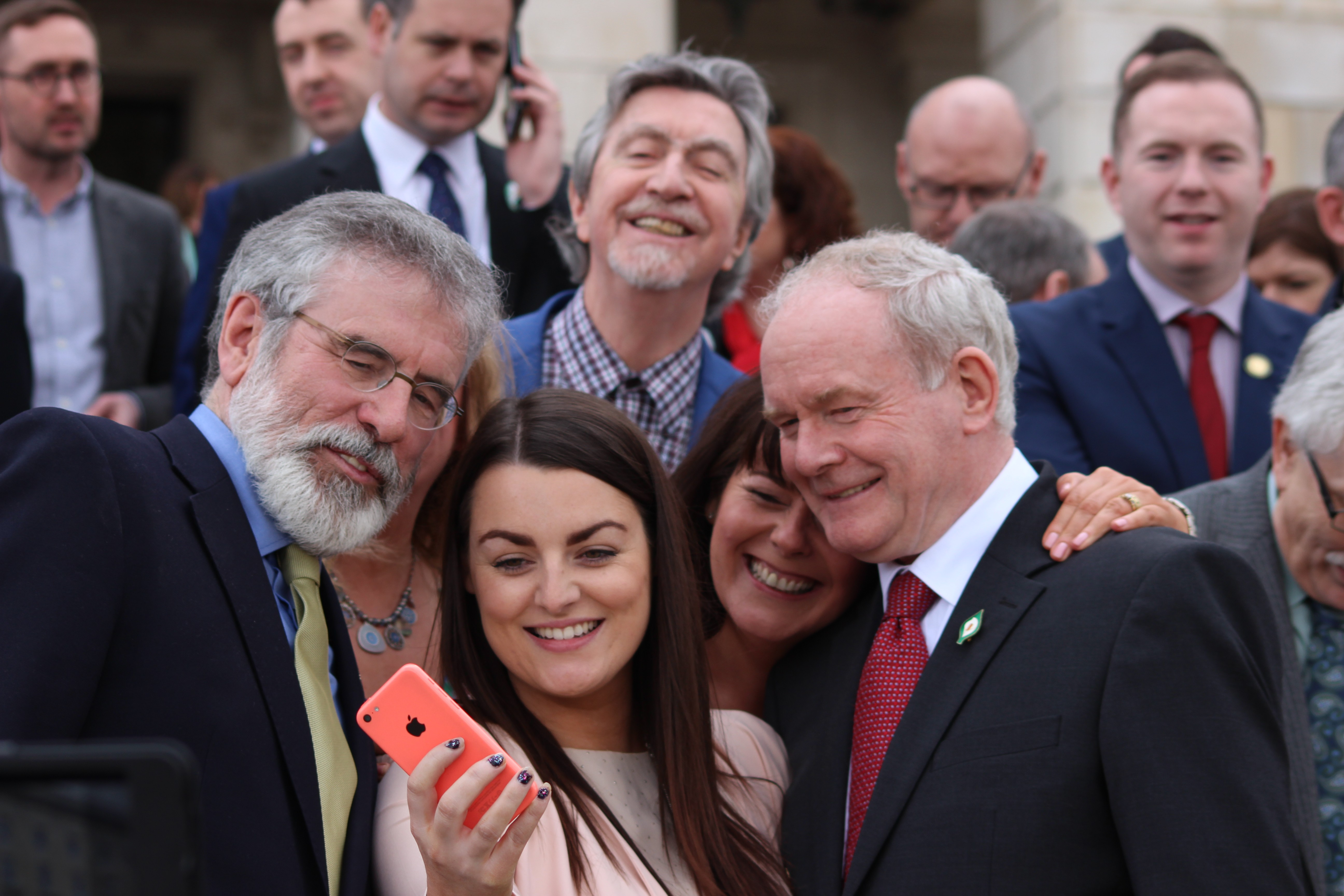 Martin McGuinness poses for a selfie at Stormont.