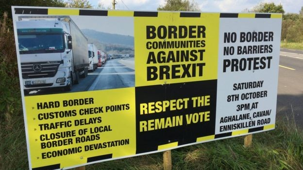 Border Communities Against Brexit sign.