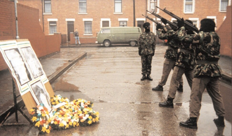 IRA members fire a volley of shots in memory of Seán Savage, Mairead Farrell and Dan McCann.