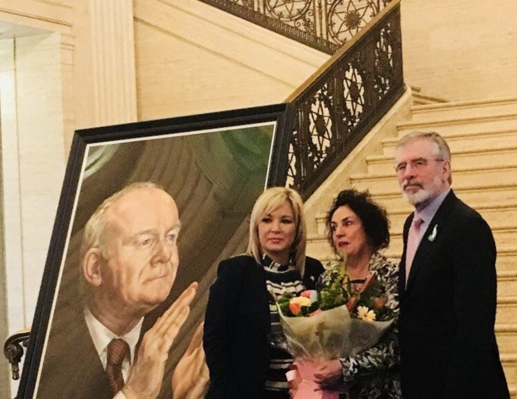Portrait of Martin McGuinness unveiled at Stormont.