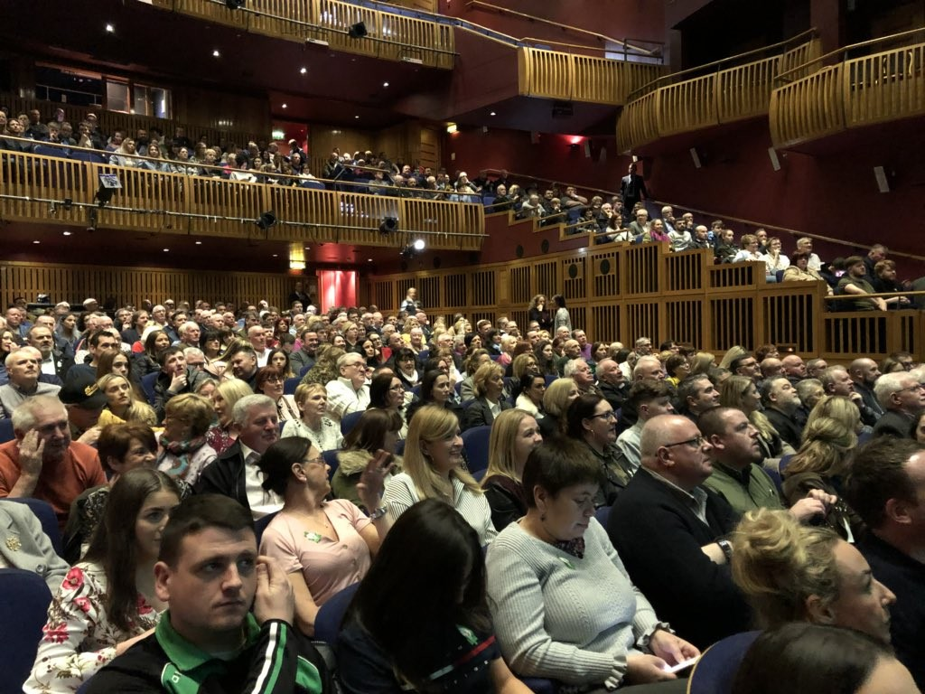 The packed hall in the Millennium Forum.