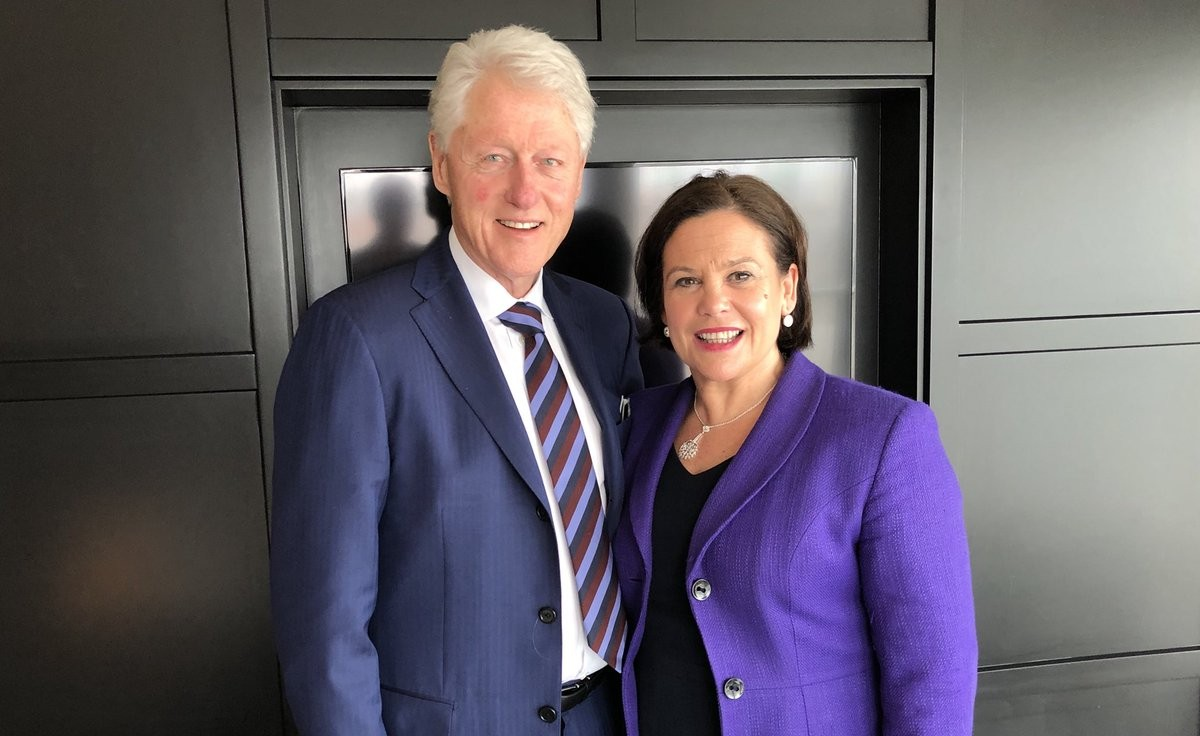 Mary Lou McDonald and Bill Clinton.