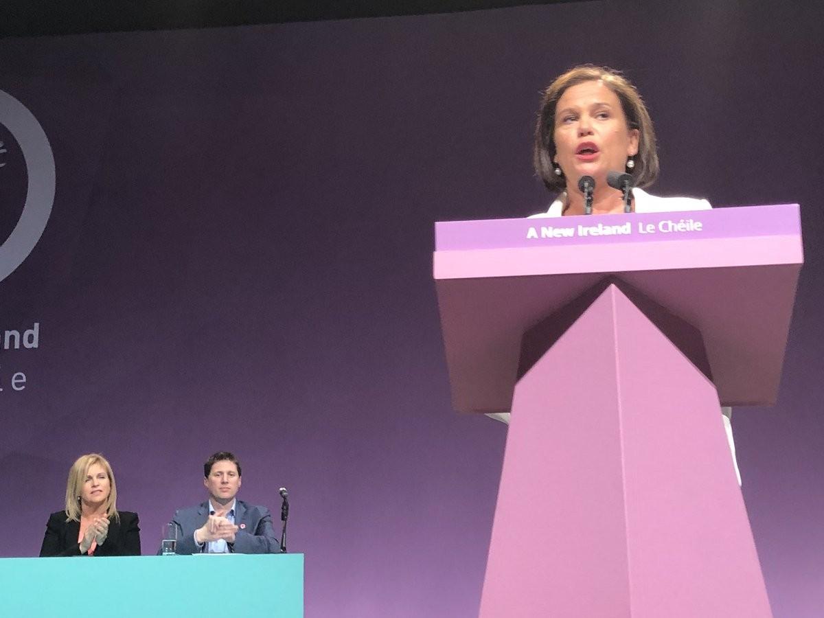 Mary Lou McDonald addressing the Ard Fheis.