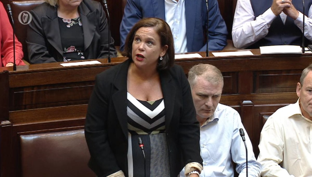 Mary Lou McDonald welcoming Paddy Agnew to the Dáil.