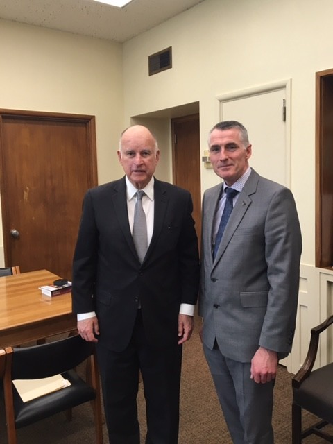 Declan Kearney with CA Governor Jerry Brown
