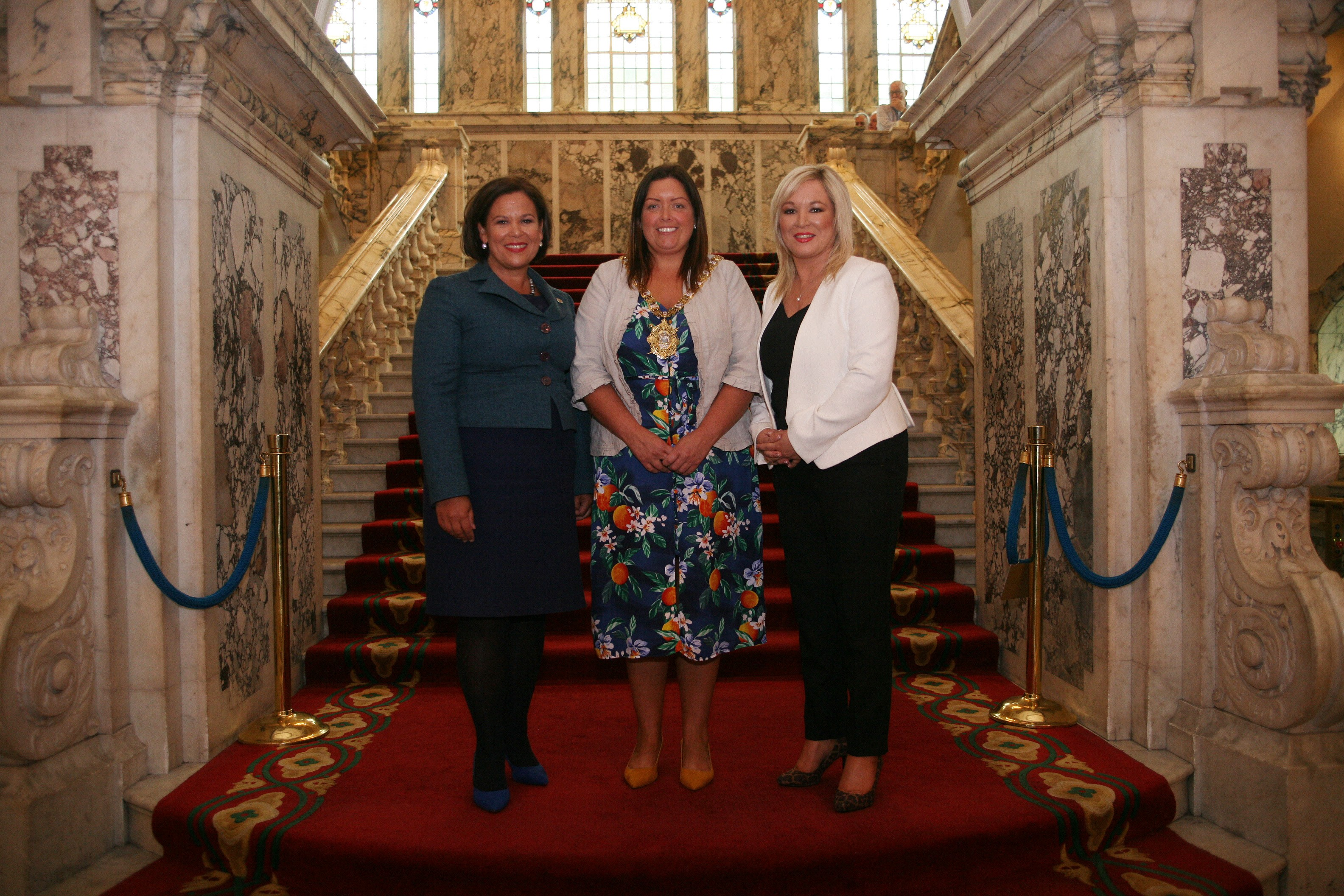 Belfast Ard Mheara welcoming Mary Lou McDonald and Michelle O'Neill to Belfast City Hall.