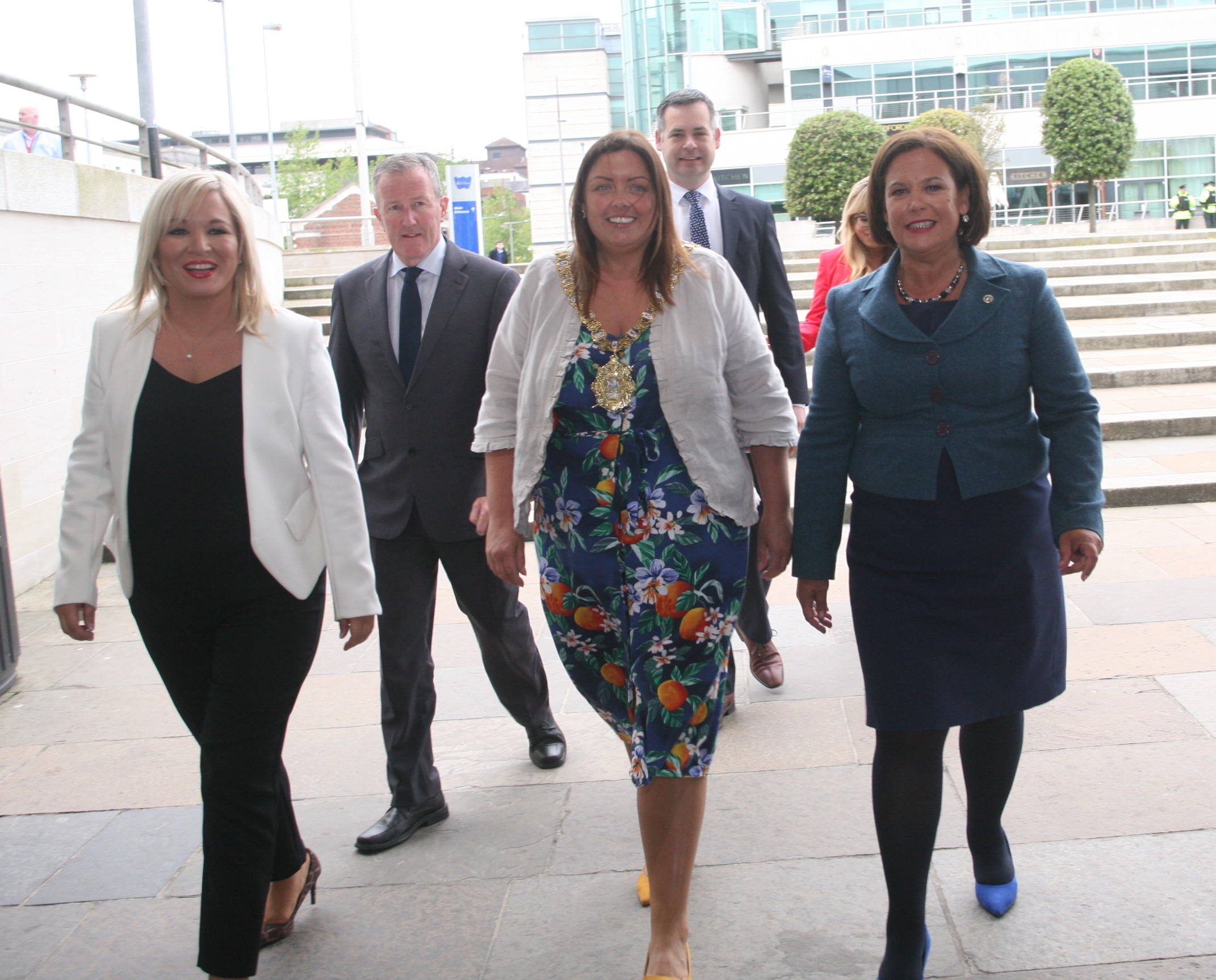 Sinn Féin leaders arriving at Belfast's Waterfront Hall.