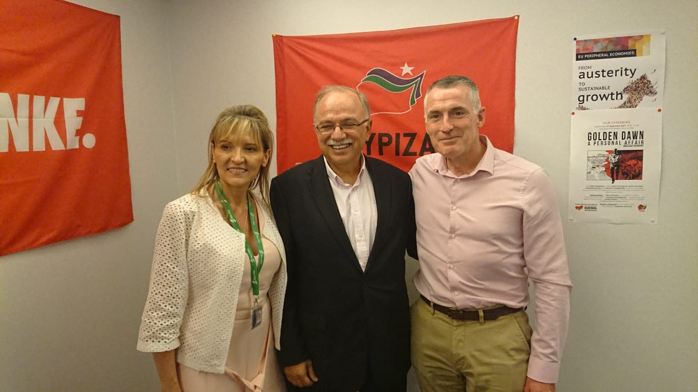 Declan Kearney and Martina Anderson with Dimitrios Papadimoulis