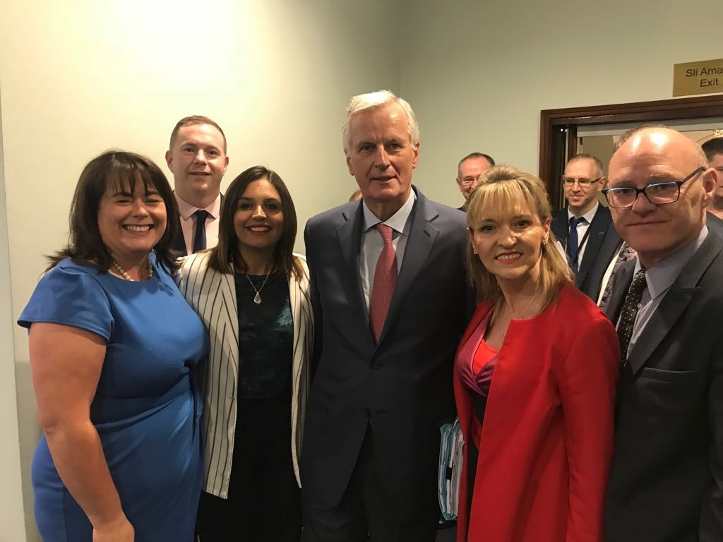 Martina Anderson MEP and Sinn Féin MPs with Michel Barnier in Leinster House today.